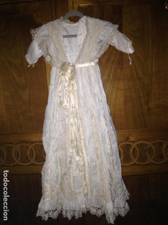 Antigüedades: Vestido niña 1900/1905 puntilla con otro vestido interior de tela VER FOTOS - Foto 3 - 150448822