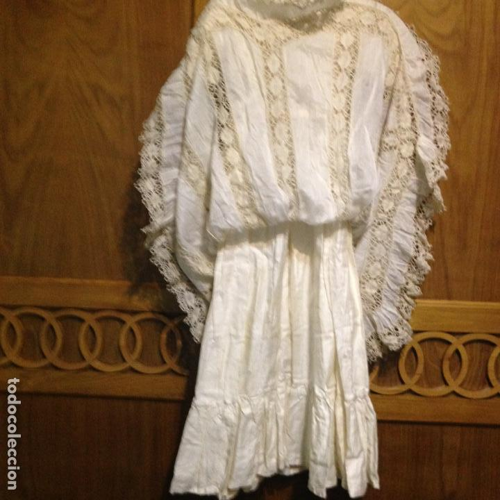 Antigüedades: Vestido niña 1900/1905 puntilla con otro vestido interior de tela VER FOTOS - Foto 5 - 150448822
