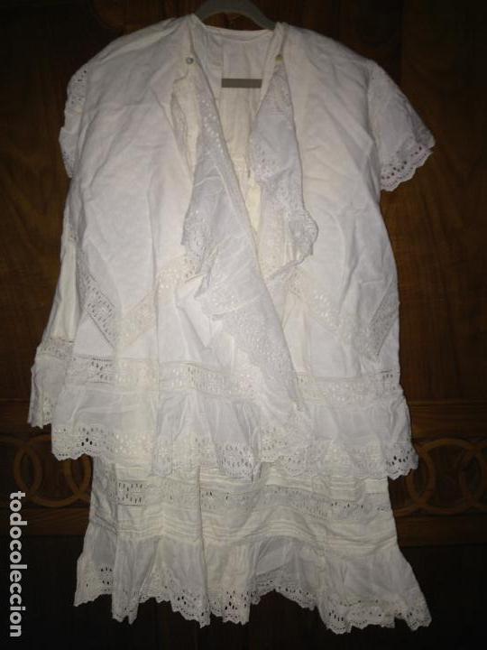 Antigüedades: Vestido niña 1900/1905 con capa separada VER FOTOS - Foto 2 - 150461010