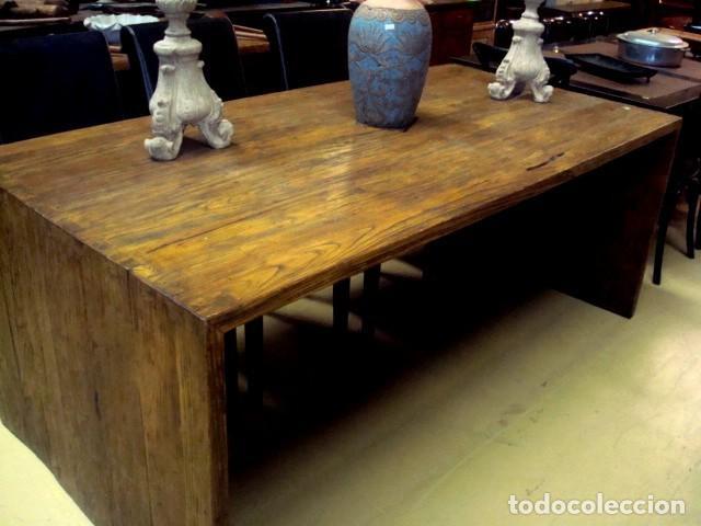 MESA RUSTICA EN MADERA DE OLMO (Antigüedades - Muebles Antiguos - Mesas Antiguas)