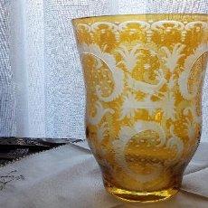 Antigüedades: JARRON CRISTAL GRABADO A LA MUELA. Lote 150539474