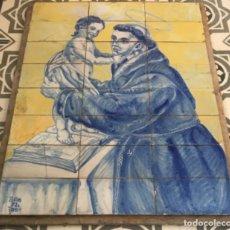 Antigüedades: MURAL RETABLO DE CERÁMICA SAN ANTONIO FECHADO Y FIRMADO. Lote 150547354