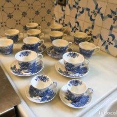 Antigüedades: ANTIGUO JUEGO DE CAFÉ / TE 12 TAZA / TAZAS DE CAFÉ / VAJILLA ANTIGUA INGLESA COLOR AZUL AÑOS 20-30. Lote 150559242