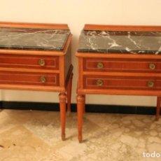 Antiquitäten - Mesitas de noche de madera maciza y mármol - 150559746