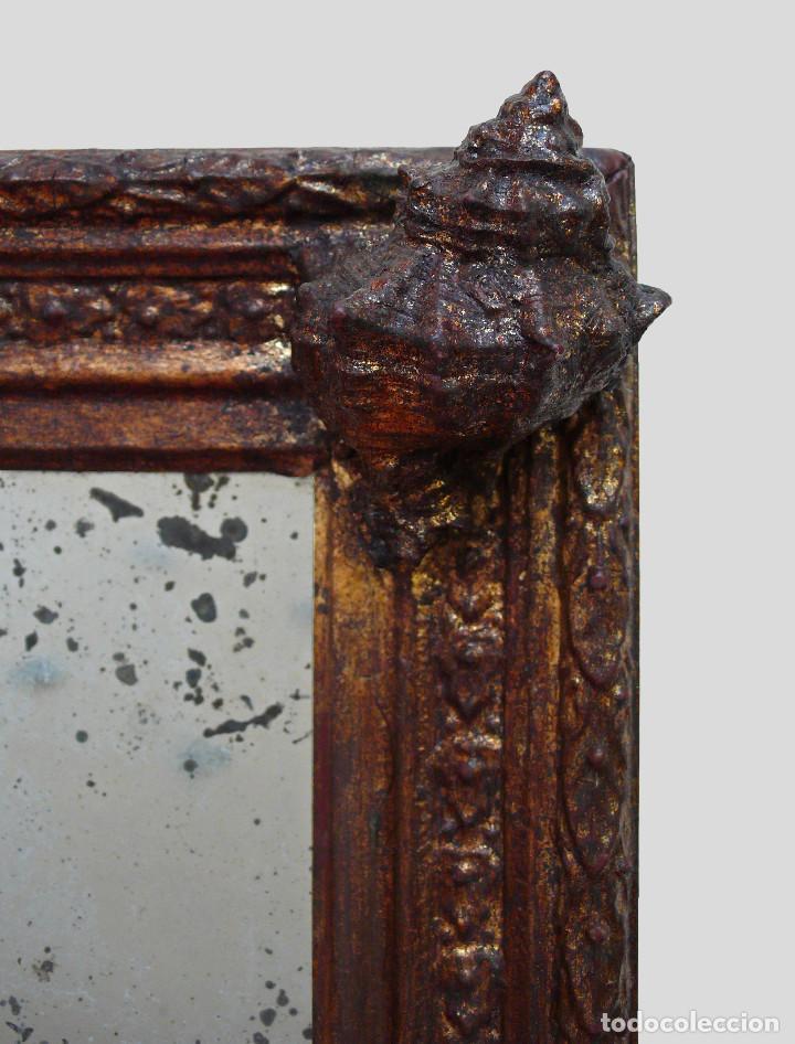 Antigüedades: CASSETTA FRAME S.XVIII SPECCHIO VENETIAN MIRROR – ESPEJO VENECIANO MARCO CORNUCOPIA WOOD SEASHELL - Foto 2 - 150567290