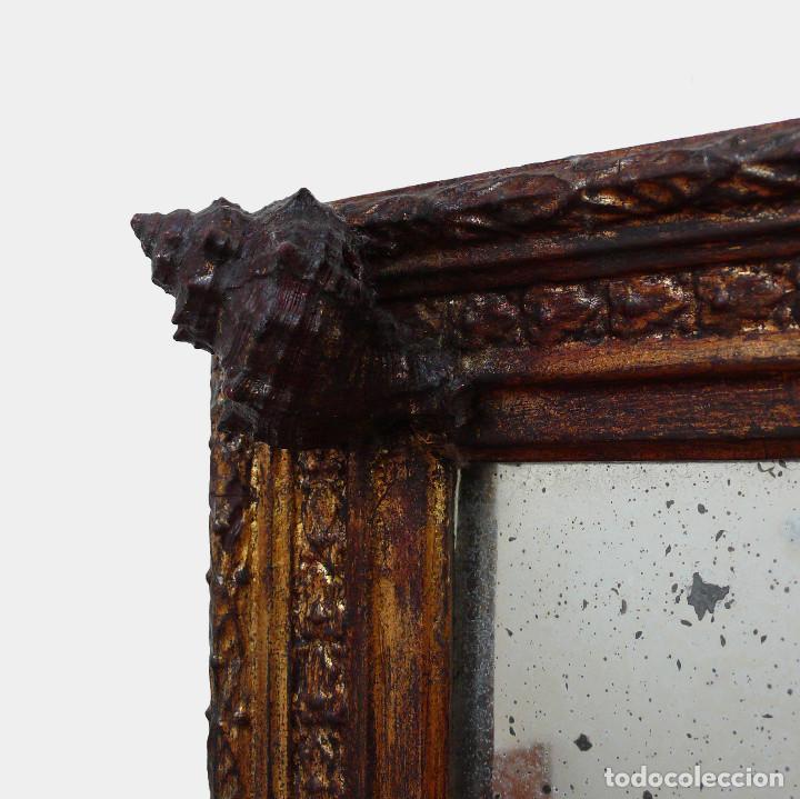 Antigüedades: CASSETTA FRAME S.XVIII SPECCHIO VENETIAN MIRROR – ESPEJO VENECIANO MARCO CORNUCOPIA WOOD SEASHELL - Foto 3 - 150567290