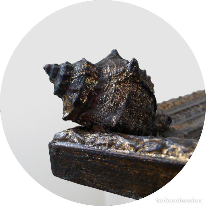 Antigüedades: CASSETTA FRAME S.XVIII SPECCHIO VENETIAN MIRROR – ESPEJO VENECIANO MARCO CORNUCOPIA WOOD SEASHELL - Foto 8 - 150567290