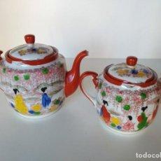 Antigüedades: TETERA Y AZUCARERO ORIENTAL, PORCELANA CASCARA DE HUEVO. Lote 150568994