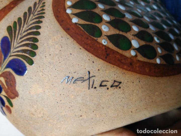 Antigüedades: Pato de gres esmaltado al fuego, pintado a mano, firmado Mexico - Foto 4 - 150570498