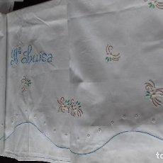 Antigüedades: ANTIGUA Y BONITA SABANA BORDADA A MAQUINA CON EL NOMBRE BORDADO DE MARIA LUISA. SIN ESTRENAR. .. Lote 150586298