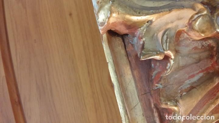 Antigüedades: Gran Ménsula de madera tallada y estofada, dorada, con oro bruñido. 19x35x40,5 cm - Foto 8 - 150595906