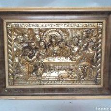 Antigüedades: ANTIGUO CUADRO ULTIMA CENA DE JESUS, LATON REPUJADO, BUEN RELIEVE. M.REGISTRADO. Lote 150627793