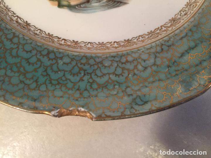 Antigüedades: Antiguo plato / plata decorativo en porcelana coloreada años 50-60 de marca Santa Clara - Foto 4 - 150644754