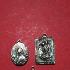 Antigüedades: LOTE DE TRES MEDALLAS DE PLATA A IDENTIFICAR. ENTRE 1,2 Y 1,9 CM. 3,9 GR. EN TOTAL.. Lote 150660940