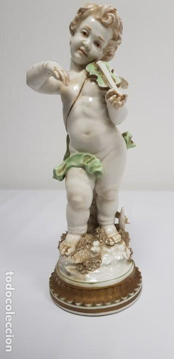 419- ANTIGUA FIGURA ANGEL PORCELANA ALGORA SELLO INCISO ALGORA A MANO B 56 32 CMS (Antigüedades - Porcelanas y Cerámicas - Algora)
