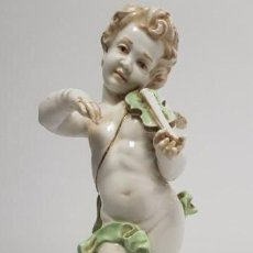 Antiquités: 419- ANTIGUA FIGURA ANGEL PORCELANA ALGORA SELLO INCISO ALGORA A MANO B 56 32 CMS. Lote 150683658