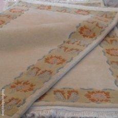 Antigüedades: PAREJA DE ALFOMBRAS NEPALÍES DE LANA VIRGEN. Lote 150756910