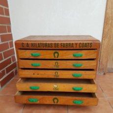 Antigüedades: MUEBLE HILATURAS FABRA Y COATS,CAJONERA ANTIGUA AÑOS 50 APROX. Lote 150759218