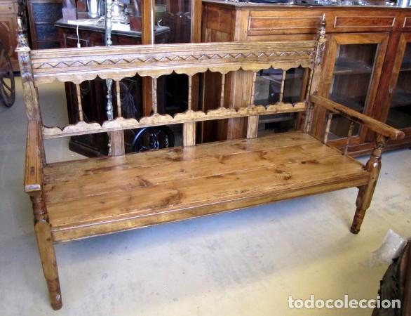 BANCA RUSTICA ANTIGUA TORNEADA Y TALLADA (Antigüedades - Muebles Antiguos - Sofás Antiguos)