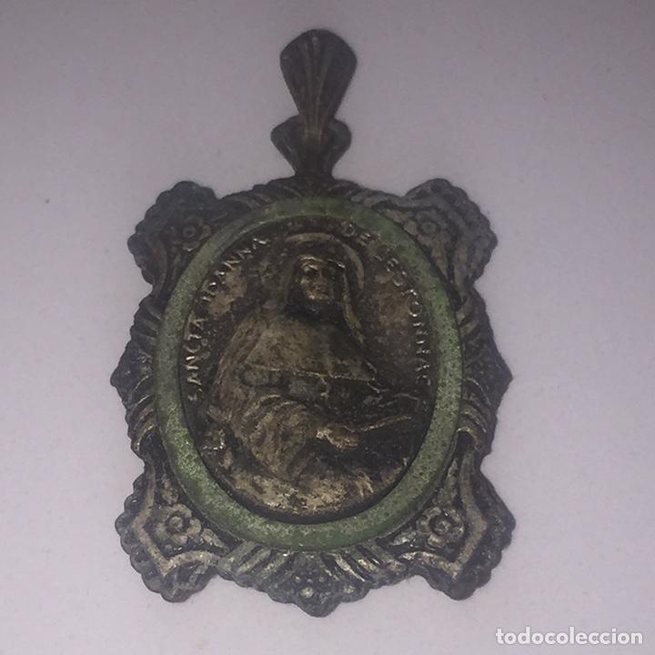 Antigüedades: Relicario santa jeanne de lestonnac contiene tela de la anterior indumentaria 4.5x2.5cm - Foto 8 - 150831265