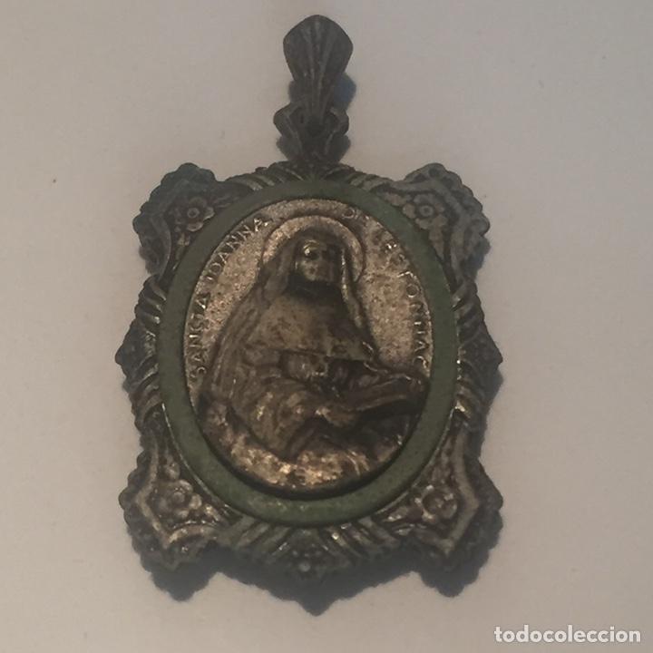 Antigüedades: Relicario santa jeanne de lestonnac contiene tela de la anterior indumentaria 4.5x2.5cm - Foto 9 - 150831265
