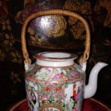 Antigüedades: TETERA EN PORCELANA DE MACAO,CANTON CHINA SIGLO XIX FAMILIA ROSA. Lote 150841458
