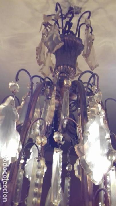 Antigüedades: Lámpara de techo, antigua ,de lágrimas de cristal. Bronce/latón. NO ENVÍO - Foto 4 - 150937474