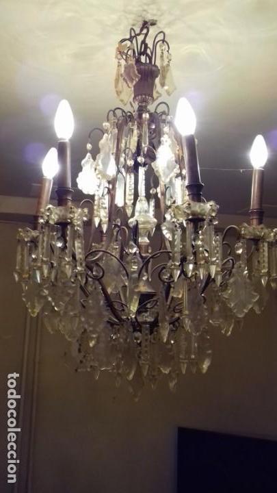 Antigüedades: Lámpara de techo, antigua ,de lágrimas de cristal. Bronce/latón. NO ENVÍO - Foto 5 - 150937474