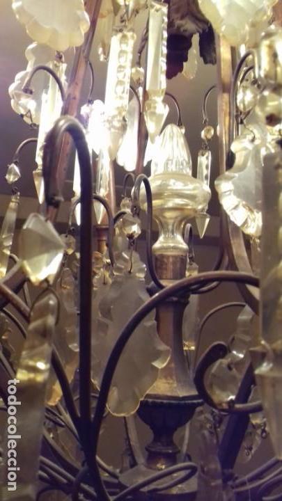 Antigüedades: Lámpara de techo, antigua ,de lágrimas de cristal. Bronce/latón. NO ENVÍO - Foto 11 - 150937474