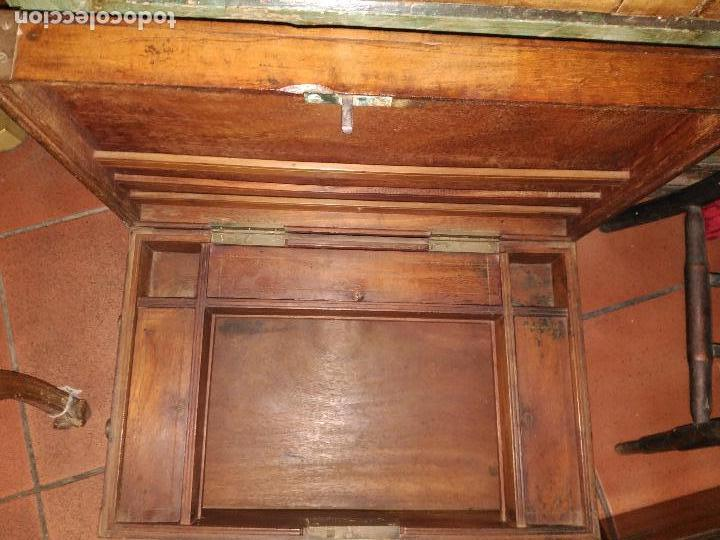 Antigüedades: ANTIGUO ESCRITORIO PORTATIL MONJES BUDISTAS NEPAL SIGLLO XVIII MADERA NOBLE BRONCE PIEZA DE MUSEO - Foto 5 - 150940374