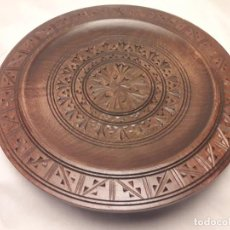 Antigüedades: PRECIOSO PLATO TALLA EN MADERA 23CM. Lote 150943478