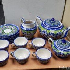 Antigüedades: JUEGO CAFE 6 TAZAS CON AZUCARERO, LECHERA Y CAFETERA 23 DE FIGAS RIBESALVES-ALCORA AÑOS 40-50. Lote 150953406