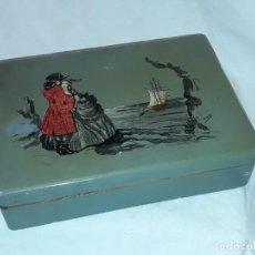 Antigüedades - Hermosa antigua caja de madera esmaltada y pintada - 150982662