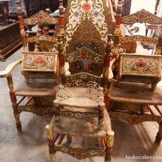 Antigüedades: CONJUNTO DE CABEZAL DE CAMA CON SILLAS Y MESITAS.. Lote 150983208