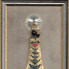 Antigüedades: PRECIOSO CUADRO DE LA VIRGEN CON EL NIÑO EN DORADO PLATEADO Y ESMALTE DIMENSIONES 16 X 12 CM. Lote 151006522