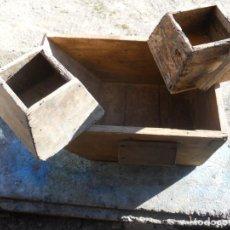 Antigüedades: 3 ANTIGUAS MEDIDAS MADERA, PARA GRANO. Lote 151033034