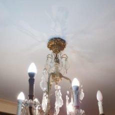 Antigüedades: LAMPARA CRISTAL ISABELINA Y APLIQUE PARED. Lote 151036950