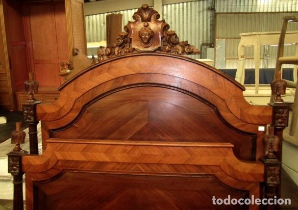 Antigüedades: Cama antigua de 120 en madera de palosanto - Foto 3 - 151071418