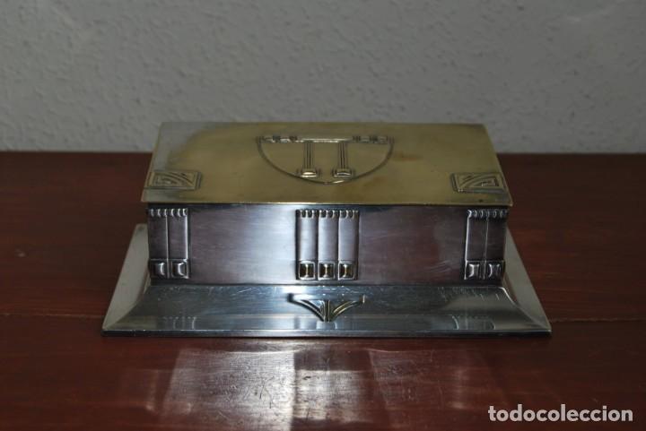 CAJA DE METAL ART NOUVEAU - WMF - LATÓN BAÑO DE PLATA - TABAQUERA - CIGARRERA - JUGENDSTIL - C.1900 (Antigüedades - Hogar y Decoración - Cajas Antiguas)