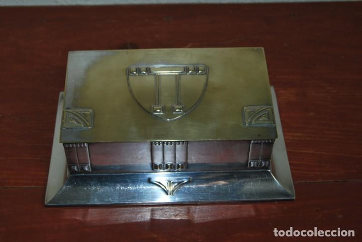 Antigüedades: CAJA DE METAL ART NOUVEAU - WMF - LATÓN BAÑO DE PLATA - TABAQUERA - CIGARRERA - JUGENDSTIL - C.1900 - Foto 6 - 151074974