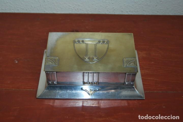 Antigüedades: CAJA DE METAL ART NOUVEAU - WMF - LATÓN BAÑO DE PLATA - TABAQUERA - CIGARRERA - JUGENDSTIL - C.1900 - Foto 7 - 151074974