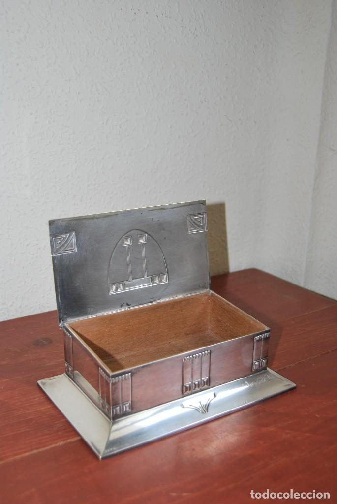 Antigüedades: CAJA DE METAL ART NOUVEAU - WMF - LATÓN BAÑO DE PLATA - TABAQUERA - CIGARRERA - JUGENDSTIL - C.1900 - Foto 21 - 151074974