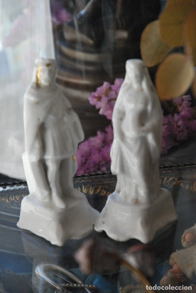 Antigüedades: BONITA PAREJA DE ANTIGUOS INCENSIARIOS DE PORCELANA - Foto 3 - 151080598