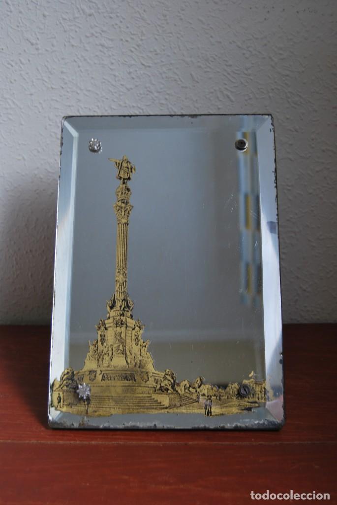 Antigüedades: PRECIOSO ESPEJO MODERNISTA DE SOBREMESA - MONUMENTO A COLÓN BARCELONA - EXPOSICIÓN UNIVERSAL 1888 - Foto 3 - 151080882