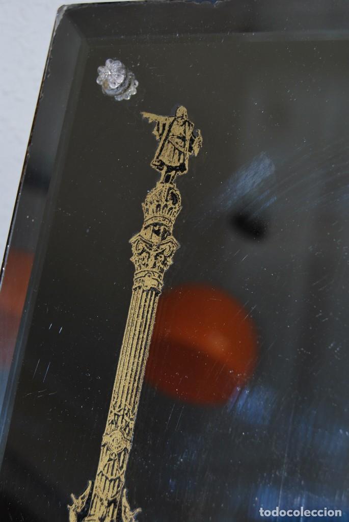 Antigüedades: PRECIOSO ESPEJO MODERNISTA DE SOBREMESA - MONUMENTO A COLÓN BARCELONA - EXPOSICIÓN UNIVERSAL 1888 - Foto 12 - 151080882