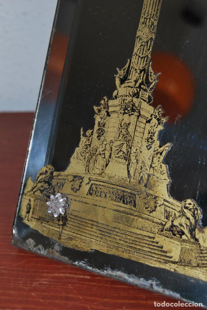 Antigüedades: PRECIOSO ESPEJO MODERNISTA DE SOBREMESA - MONUMENTO A COLÓN BARCELONA - EXPOSICIÓN UNIVERSAL 1888 - Foto 13 - 151080882