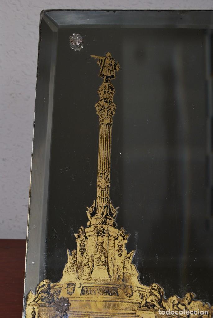 Antigüedades: PRECIOSO ESPEJO MODERNISTA DE SOBREMESA - MONUMENTO A COLÓN BARCELONA - EXPOSICIÓN UNIVERSAL 1888 - Foto 15 - 151080882