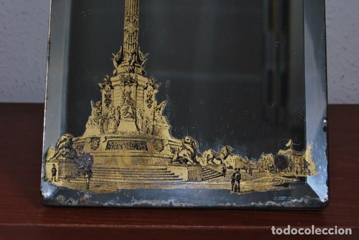 Antigüedades: PRECIOSO ESPEJO MODERNISTA DE SOBREMESA - MONUMENTO A COLÓN BARCELONA - EXPOSICIÓN UNIVERSAL 1888 - Foto 16 - 151080882
