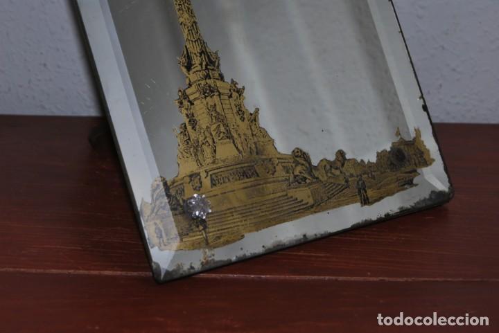 Antigüedades: PRECIOSO ESPEJO MODERNISTA DE SOBREMESA - MONUMENTO A COLÓN BARCELONA - EXPOSICIÓN UNIVERSAL 1888 - Foto 18 - 151080882