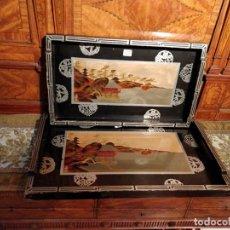 Antigüedades: PAREJA DE BANDEJAS MUY LIGERAS DE MADERA ESTILO ASIÁTICO, 25X41CM Y 29X45.5CM. Lote 151086130